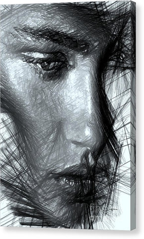 Portrait Of A Woman In Black And White - Canvas Print