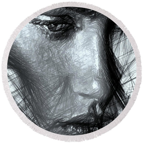 Portrait Of A Woman In Black And White - Round Beach Towel