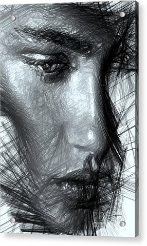 Portrait Of A Woman In Black And White - Acrylic Print