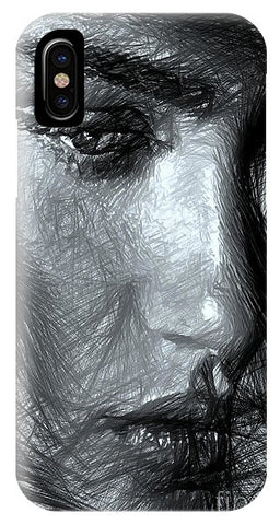 Portrait Of A Woman In Black And White - Phone Case