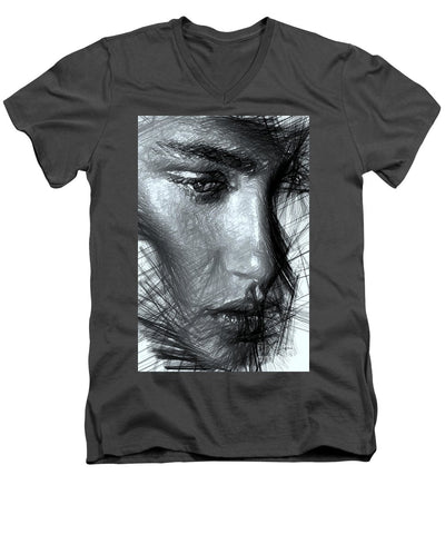 Portrait Of A Woman In Black And White - Men's V-Neck T-Shirt