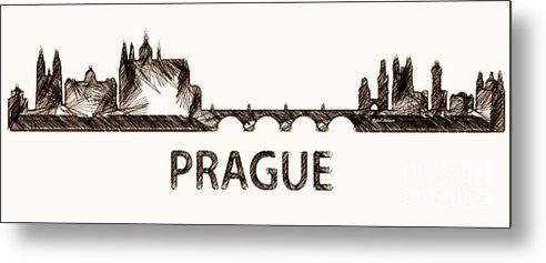 Metal Print - Prague Czech Republic Silouhette Sketch