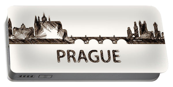 Portable Battery Charger - Prague Czech Republic Silouhette Sketch
