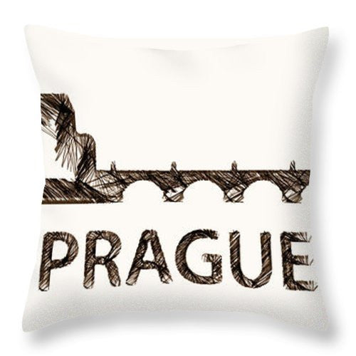 Throw Pillow - Prague Czech Republic Silouhette Sketch