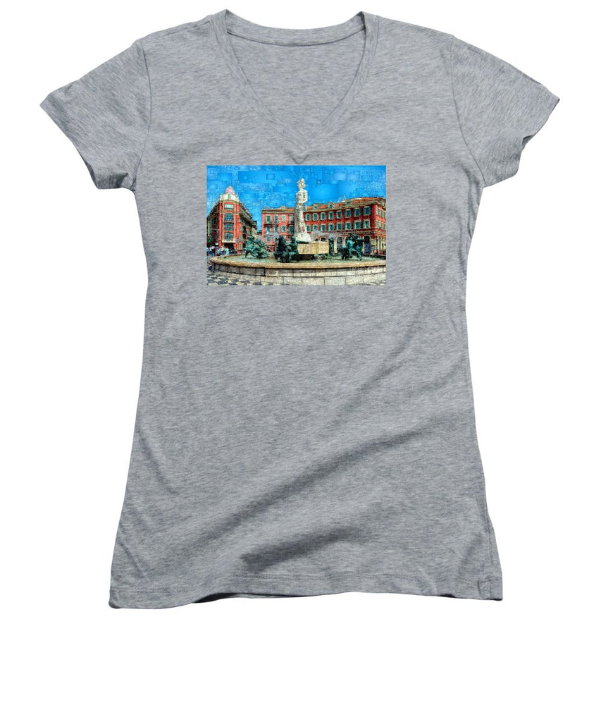 Women's V-Neck T-Shirt (Junior Cut) - Promenade Of The English, Nice France