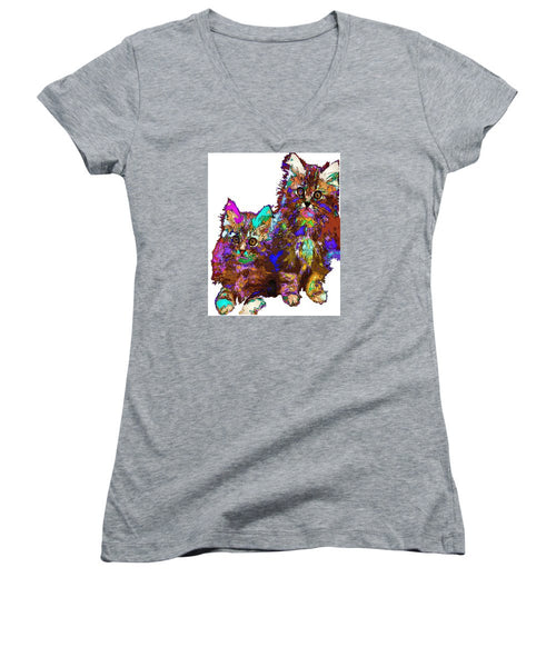 Women's V-Neck T-Shirt (Junior Cut) - Pumpkin And Sophie. Pet Series