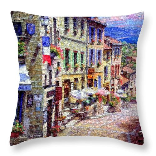 Throw Pillow - Quaint Streets From Nice France.