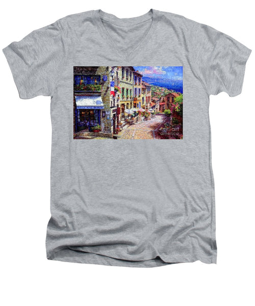 Men's V-Neck T-Shirt - Quaint Streets From Nice France.