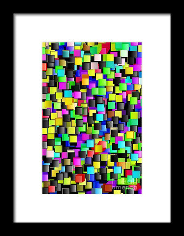 Rainbow Checkers - Framed Print