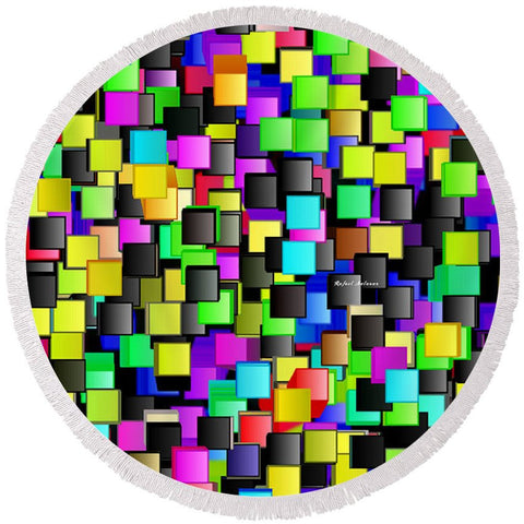 Rainbow Checkers - Round Beach Towel