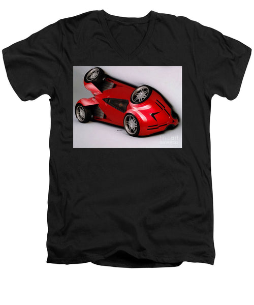 Men's V-Neck T-Shirt - Red Car 009