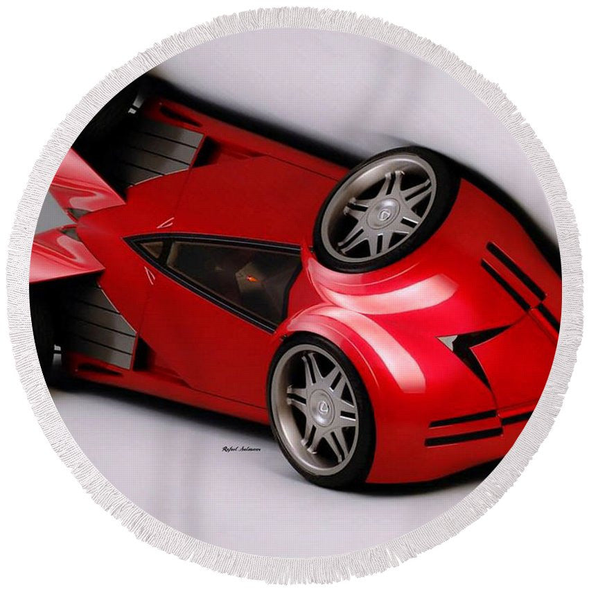 Round Beach Towel - Red Car 009