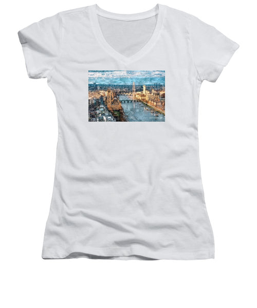 Women's V-Neck T-Shirt (Junior Cut) - River Thames In London, England