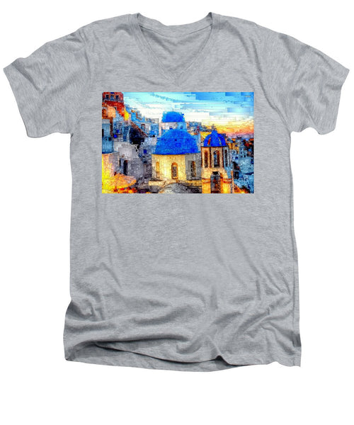 Men's V-Neck T-Shirt - Santorini Island, Greece