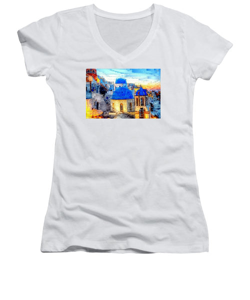 Women's V-Neck T-Shirt (Junior Cut) - Santorini Island, Greece