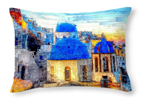 Throw Pillow - Santorini Island, Greece