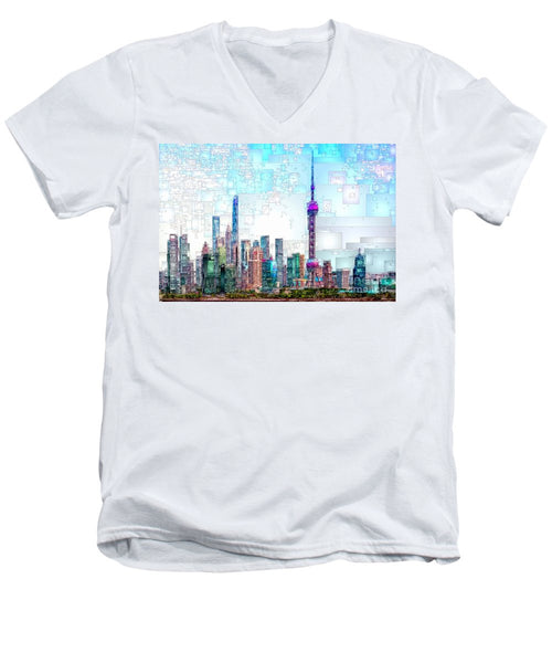 Men's V-Neck T-Shirt - Shanghai, China