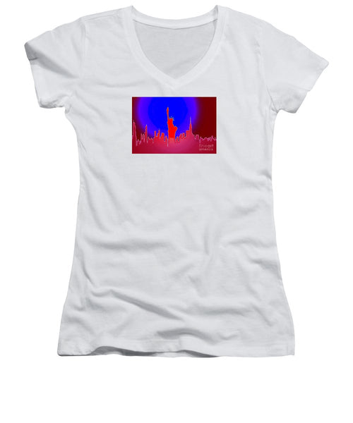Women's V-Neck T-Shirt (Junior Cut) - Statue Of Liberty Enlightening The World
