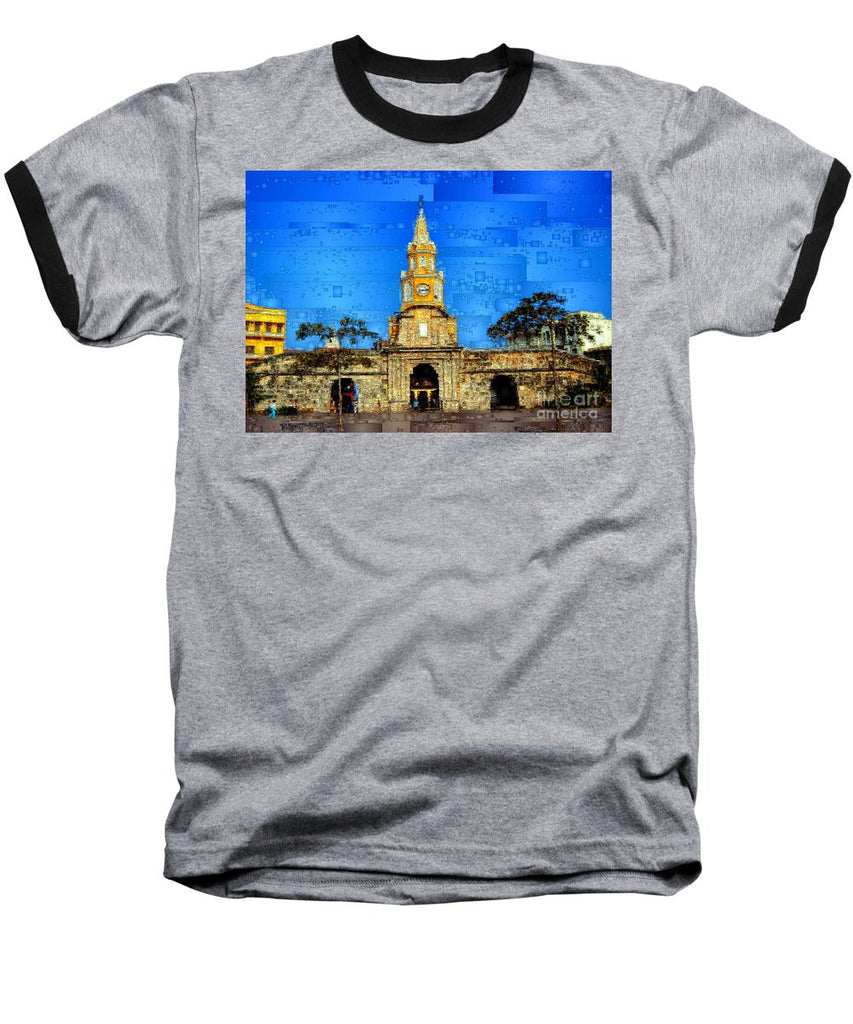 Baseball T-Shirt - The Gate And Clock Tower In Cartagena Colombia