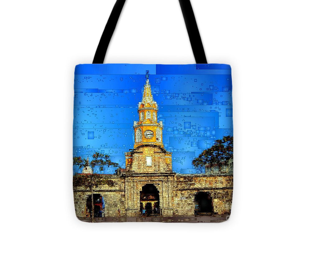 Tote Bag - The Gate And Clock Tower In Cartagena Colombia