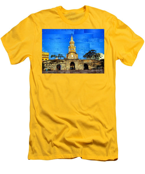 Men's T-Shirt (Slim Fit) - The Gate And Clock Tower In Cartagena Colombia