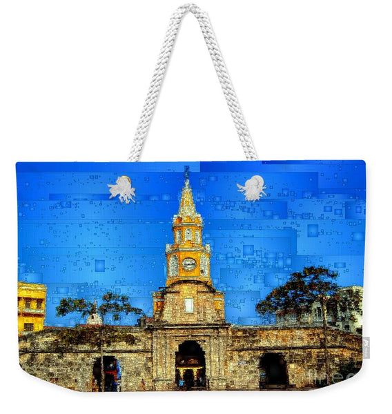 Weekender Tote Bag - The Gate And Clock Tower In Cartagena Colombia