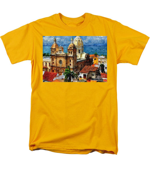 Men's T-Shirt  (Regular Fit) - The Walled City In Cartagena De Indias Colombia