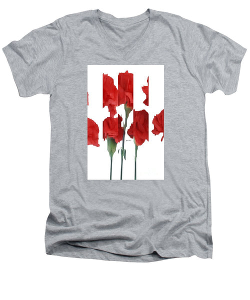Men's V-Neck T-Shirt - Vertical Flowers
