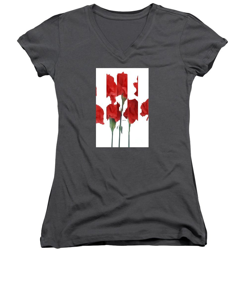 Women's V-Neck T-Shirt (Junior Cut) - Vertical Flowers