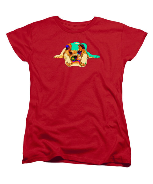 Women's T-Shirt (Standard Cut) - Waiting For You. Dog Series