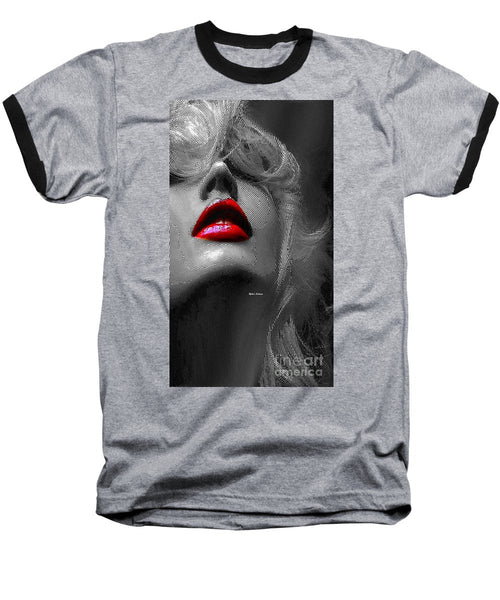 Baseball T-Shirt - Woman With Red Lips