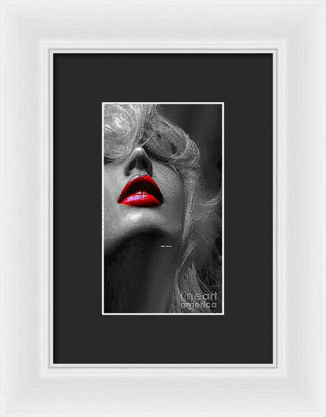 Framed Print - Woman With Red Lips