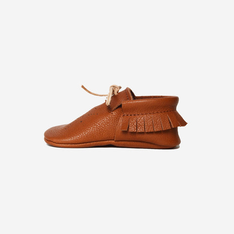Vegetable tanned leather moccasins