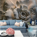 mural gray rose flower