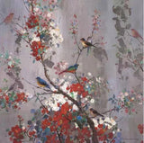 hand-painted retro birds flower wallpaper