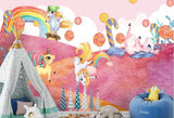 playful unicorns candy forest wall mural
