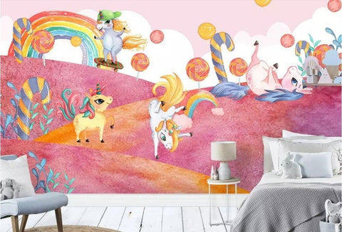 candy forest unicorn wallpaper