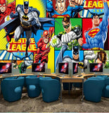 dc comics batman superman cartoon mural