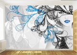 blue black drawing fashion girl mural