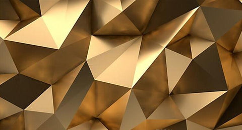 3d Gold Abstract Geometric Shapes Wallpaper Mural For Home