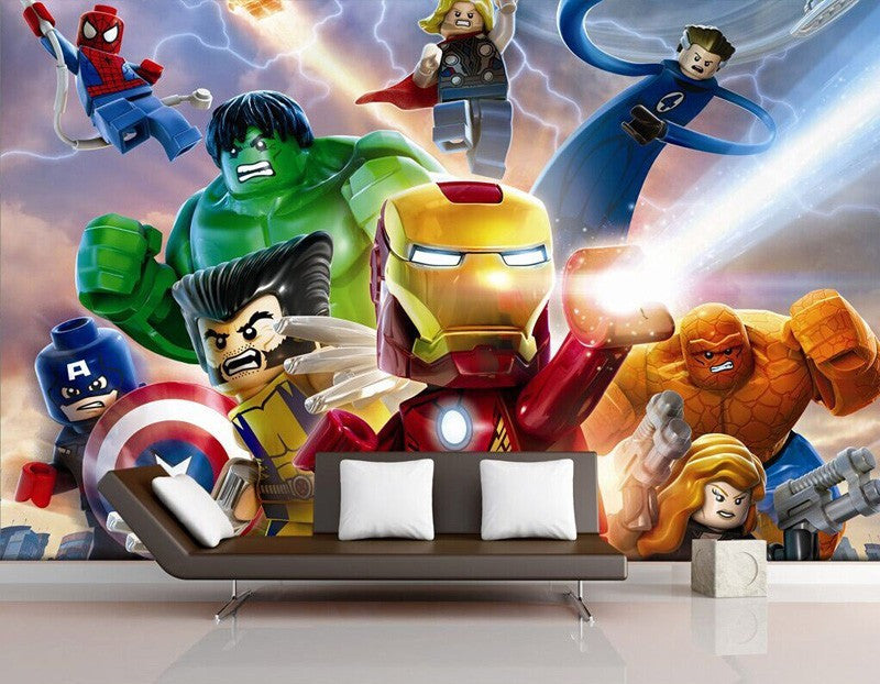 3d Lego Movie Cartoon Hulk Iron Man Captain America