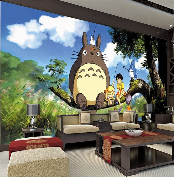 Anime Bedroom Ideas Bedroom Wall Decor Crafts Bedroom Design Of Pop Black And White Bedroom Design Inspiration: 3D Totoro Japanese Anime Wallpaper For Kids Teens Mural