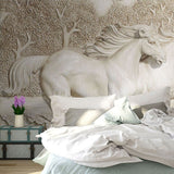 3d relief horse pair wall paper