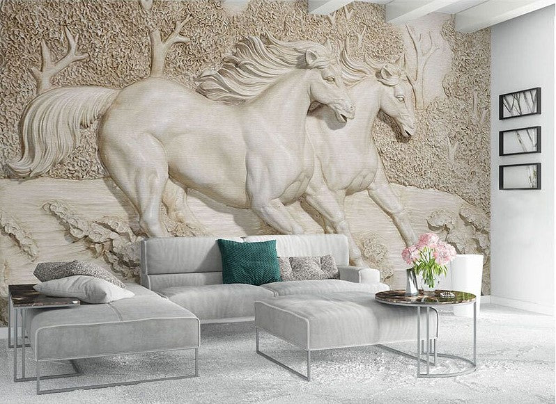 . 3D Relief Horse Pair Wallpaper for Wall Stereoscopic Sculptured Horses Mural