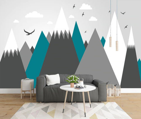 abstract mountains wall mural