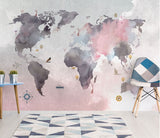 abstract world map mural
