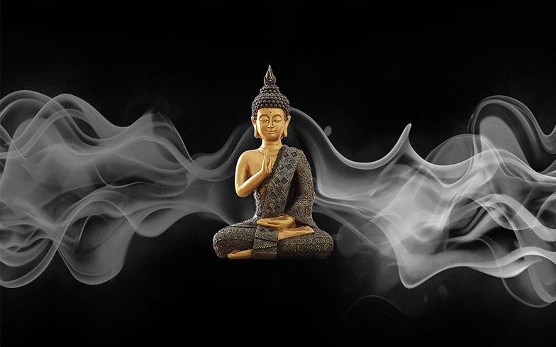 3d Buddha Black Smoky Background Wallpaper For Home Or