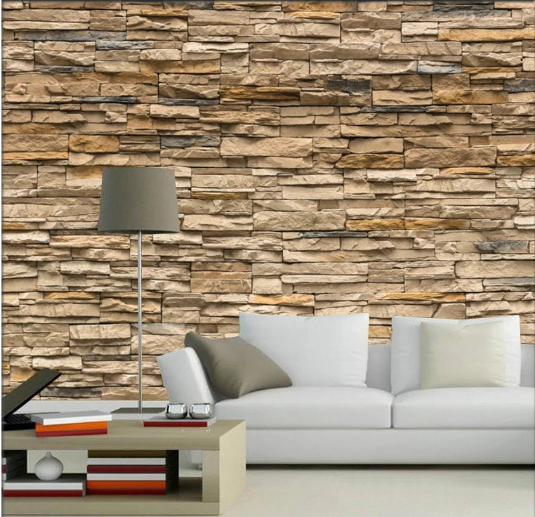 Realistic 3D Light Colored Brick Wallpaper for Home or ...