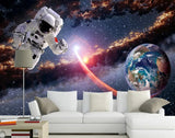 astronaut space walk design mural