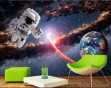 astronaut space walk planet earth view mural